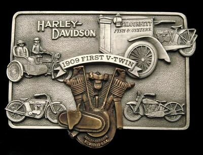 Qe04124 *Nos* 1983 Official Harley-Davidson *1909 First V-Twin* Collector Buckle