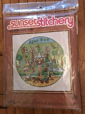 "New Vintage Sunset Stitchery #2530 Crewel Kit ""Old times. Good Times"" 1981"