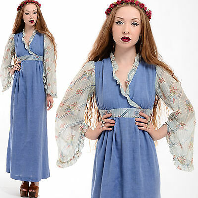 Vtg 70s Boho SHEER Bell ANGEL SLEEVE Peasant Hippie Festival Prairie Maxi Dress