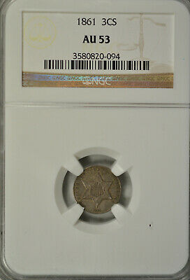 1861 3 cent silver, type III, NGC AU53