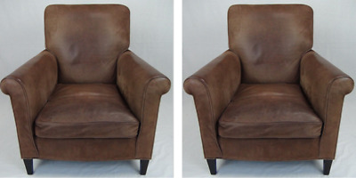 1930's Pair of French Brown Leather Armchair