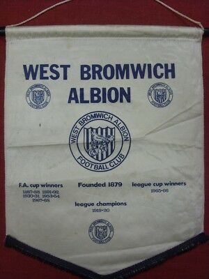1967/1968 circa 1960's West Bromwich Albion: Large Padded Pennant, Lists Honours