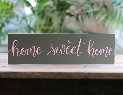 Home Sweet Home Sign Country Cottage Entryway Wall Decor Hand Painted 14 inch