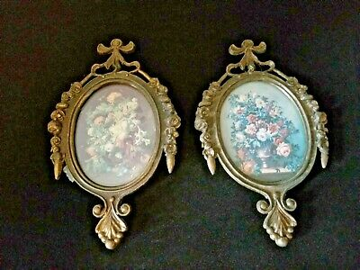 Lot of 2 Small Vintage Oval Ornate Metal Frame Pictures Made in Italy