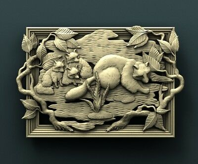 3d STL Model Relief for CNC Router Aspire _ (0436) Raccoons