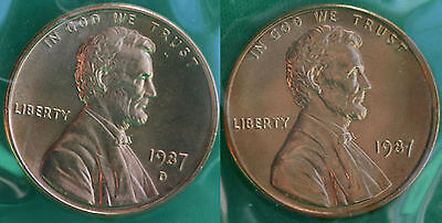 1987 P and D Lincoln Cent 2 Coin from US Mint Set UNC Cello One Cent Penny Pair