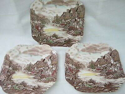 "Set of 3 Vtg. Johnson Brothers OLDE ENGLISH COUNTRYSIDE 7-5/8"" Square Plates"