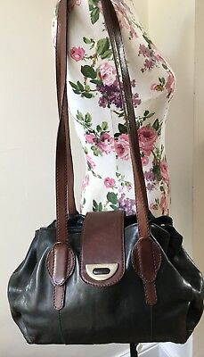 Vintage 1980s Black And Tan Bucket Bag Leather Large Ceancarel