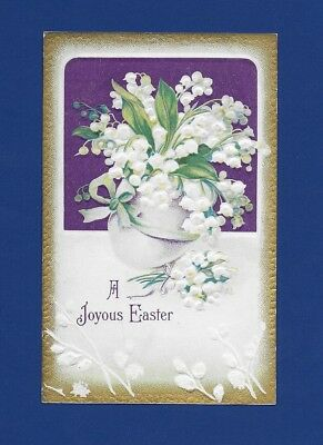 Antique Easter Postcard Vase Full Of Lilies Of The Valley Gold Trim