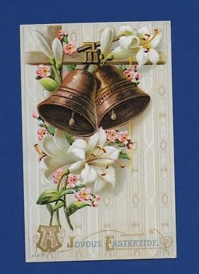 Antique Easter Postcard Bells Ribbons Lilies Pink Flowers 1910