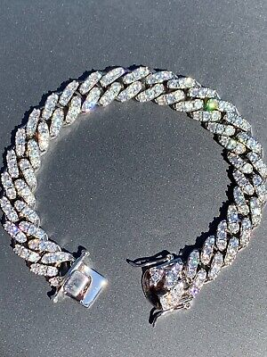 Men's Miami Cuban Bracelet White Gold Over Stainless Steel 12mm Iced Out Silver