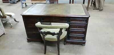 19 Century Rosewood Partner's Desk With Leather Top and Is Matching Armchair