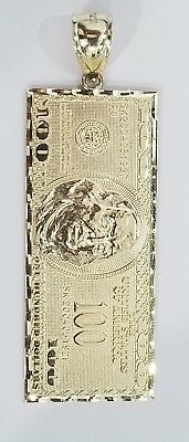 Real 10K Yellow Gold $100 One Hundred Dollar Bill Currency Diamond Cut Pendant