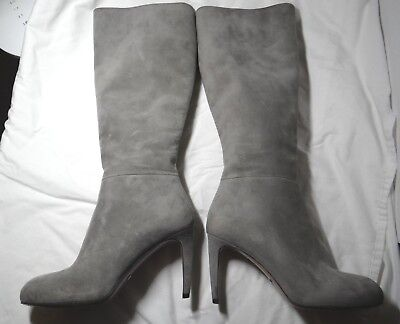 1ce5c691c129 GUCCI LIGHT GREY Suede Tall Calf High Heel Boots (size 36  6 US ...
