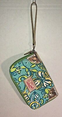 LILLY PULITZER ORIGINALS Floral Wristlet Wallet Organizer Zip Around Turquoise