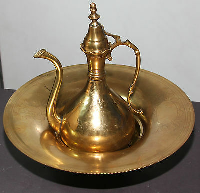 Antique 19th ce. BRASS EWER Pitcher & BASIN SET Persian Islamic Holy Regions Tea
