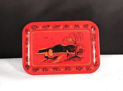 "Vintage 6.5"" Red Asian Oriental Scene Tin Litho Tray Used"
