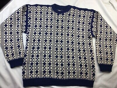 Hand Made Mens Large Wool Hand Knit Wool Nordic Sweater Blue Cream