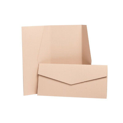 Nude Pearlescent Pocketfold Wallets with envelopes. DIY Wedding Cards