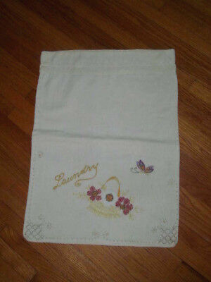 Charming~Antique Hand Embroidered LAUNDRY BAG~Heavy Cotton