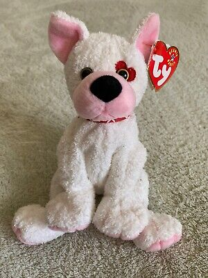 8e864cf9612 NEW Ty CUPID White Pink Fleece Beanie Baby Dog Hearts Collar Stuffed Animal  Toy