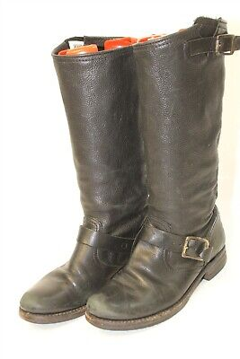 1e08e2ed02a FRYE WOMENS 8 B Veronica Slouch Distressed Black Leather Riding Boots 77605