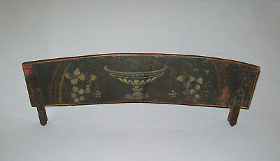 Antique 19th C 1820s Windsor Chair Crest Rail Fragment Stenciled Wgt Iron Braces