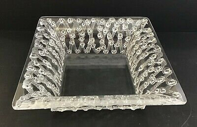 Gorgeous Lalique Crystal Square Dish with Rose Garlands