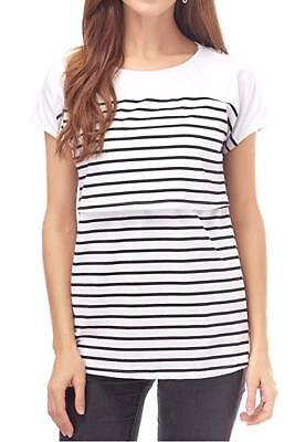 db61227298a08 Smallshow Maternity Nursing Black & White Striped Breastfeeding T-Shirt ...