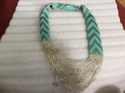 Vintage Hand Woven Turquoise  & Silver Beaded Southwest Chevron Design Necklace