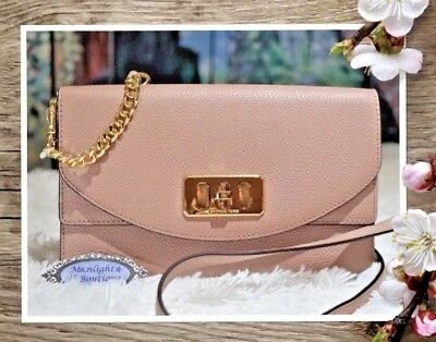 1c6348efc47cbd NWT Michael Kors KARSON Wallet Clutch Crossbody Bag In FAWN Pebbled Leather  $248