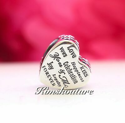 Authentic Pandora Sterling Silver Celebration Heart Bead 792060 NEW SPRING 2017