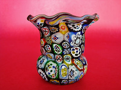 Fratelli Toso Murano Millefiori Murrine Cane Glass ToothPick Holder - SATIN