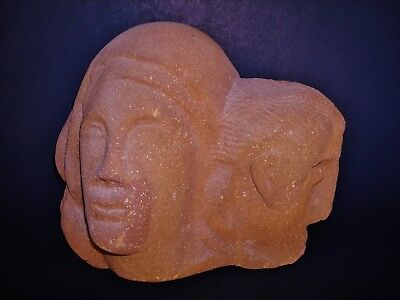 """Two Carved Heads on a very Heavy 12"""" W x 10"""" H x 7"""" D Sandstone"""