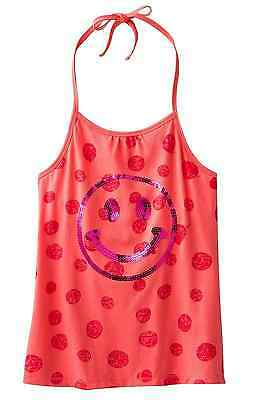SO Girls 7-16 Sequin Smiley Face Halter Knit Top Taffy Coral Built in Shelf Bra