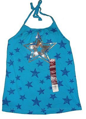SO Girls 7-16 Sequin Star Halter Knit Top Hawaiian Ocean Blue Built in Shelf Bra