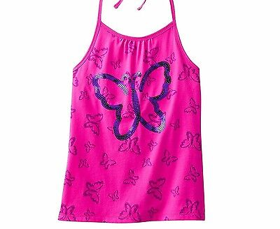 SO Girls 7-16 Sequin Butterfly Halter Knit Top Hollywood Pink Built in Shelf Bra