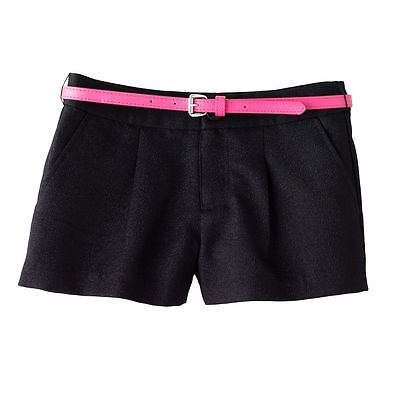 Candies Black Sparkly Pleated Matching Pink Belt Shorts - Girls 7-16