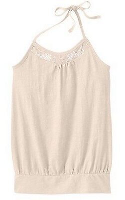 Mudd Girls Crochet Trim White Slubbed Halter Tank Top Banded Bottom Shelf Bra