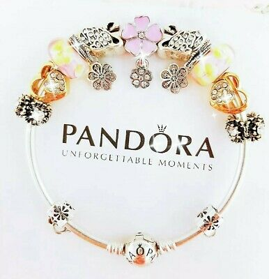 Authentic Pandora Bracelet Silver Bangle with Gold Love Swan European Charm