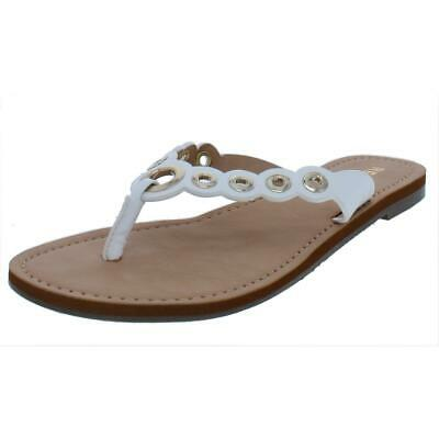 7056558 REPORT Womens /'Slone/' WHITE Thong Slip On Sandals PAT