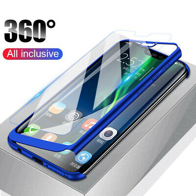 For Huawei Y5 Y6 Y7 Prime Y9 2019 360° Full Protect Case Cover + Tempered Glass
