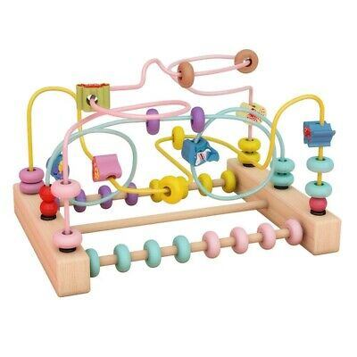 Kids Wooden Math Toy Counting Circles Bead Abacus Baby Wire Maze Roller Coaster