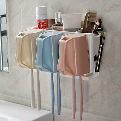 Toothpaste Toothbrush Holder Home Bathroom Wall Mount Stand Storage Rac VPJ