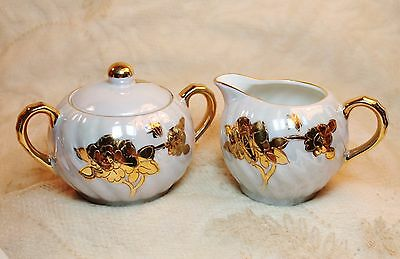 Vintage Del Coronado Nasco Japan Lusterware Sugar Bowl Lid Creamer Set