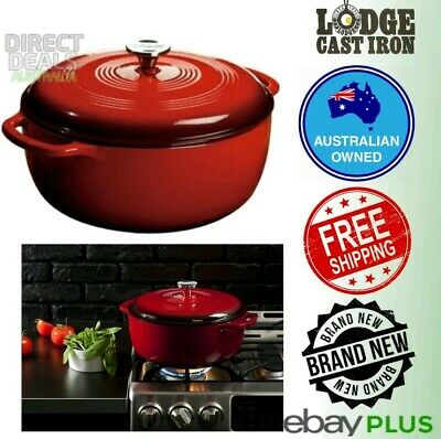 Lodge 7L Enameled Cast Iron Dutch Oven XL + Basting Lid Island Spice Red NEW
