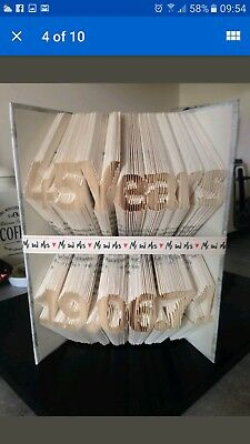 Folded Book Art. Anniversary Gift. 45 Years Plus Date Of Marriage.