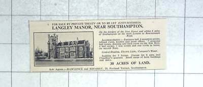 1935 Langley Manor Near Southampton, Seven Bedrooms 30 Acres For Sale Or To Let