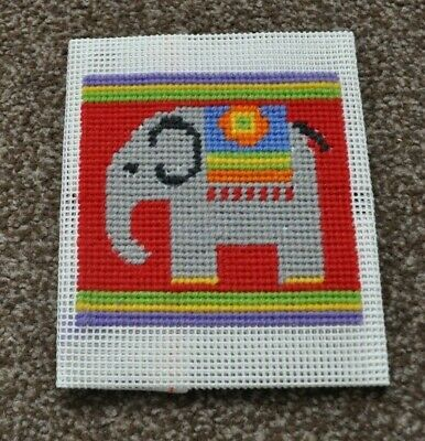 """Jolly Red Completed Tapestry Canvas - Elephant - Picture 4 x 4"""" Canvas 11 x 10"""""""