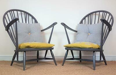 Pair of Vintage Mid Century Ercol 315 Grey Painted Stick Back Arm Lounge Chairs